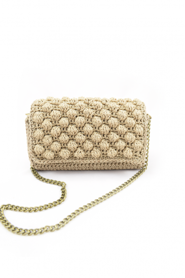 Ηandmade beige knitted bag
