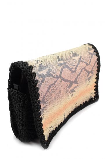 Ηandmade knitted bag with snake leather (snakeskin)