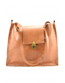 Big handmade leather shoulder bag