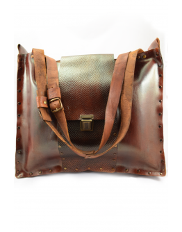 Big handmade real leather women bag