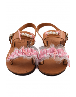 Handmade leather sandals for kids with pink tulle and beads