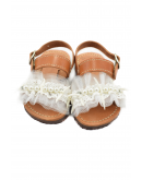 Handmade leather sandals for kids with white tulle and beads