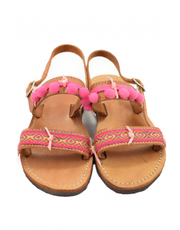 Handmade leather sandals for kids with boho style