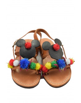 Handmade leather sandals for kids Minnie and Pon Pon
