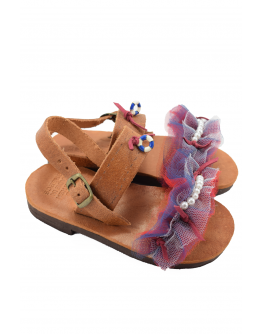 Handmade leather sandals for kids with tulle and white pearls