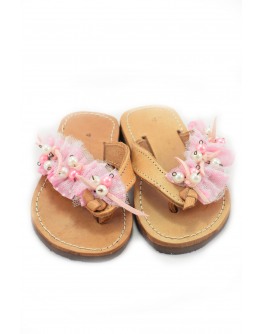 Handmade leather sandals for kids with pink - white tulle and beads
