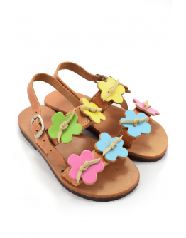 Handmade leather sandals for kids with colorful flowers