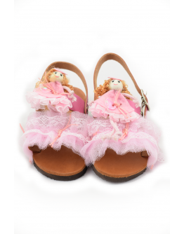 Handmade leather sandals for kids with pink tulle and doll