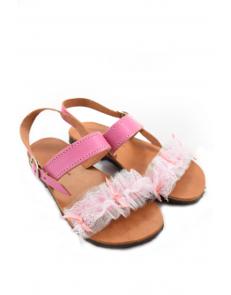 Handmade leather sandals for kids with pink tulle