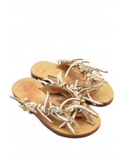 Handmade leather sandals for kids  with white beads and leather fringes