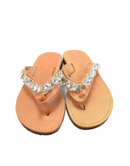Handmade leather sandals for women with white crystals