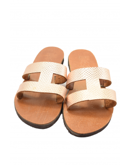 Handmade leather sandals for women with golden leather