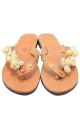 Handmade leather sandals for women with pearls and shells