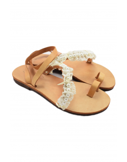 Handmade leather sandals for women - lace and pearls