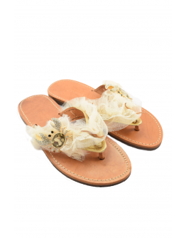 Handmade leather sandals for women with diamond crab