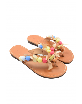 Handmade leather sandals for women with multicolored acrylic beads