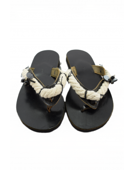 Handmade leather sandals for women with rope (Black)