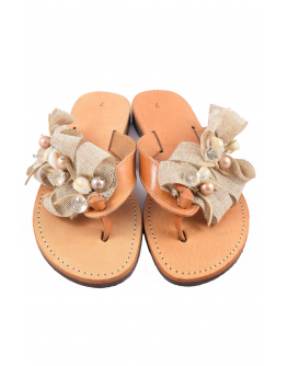 Handmade leather sandals for women with pebbles and beads
