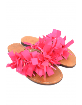 Handmade leather sandals for women with ribbons