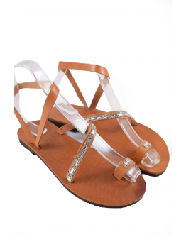 Handmade leather sandals for women with strass